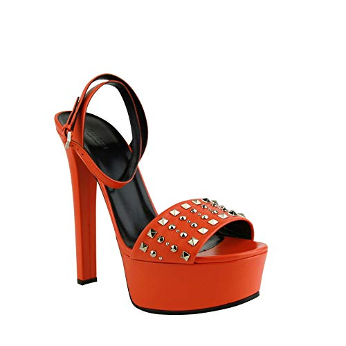 Gucci Women's Orange Leather Platform Heels with Silver Studs 374523 7523 (37.5 G / 7.5 US)