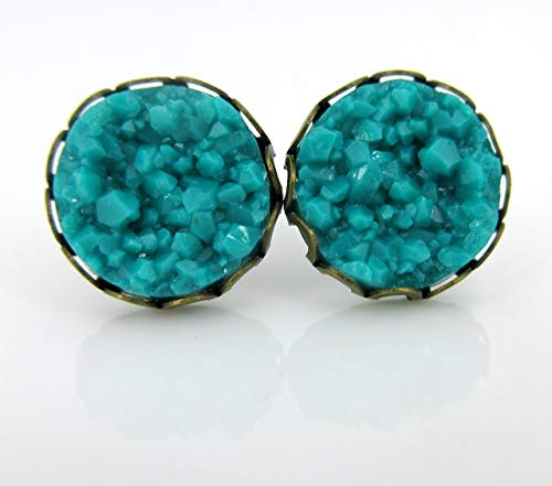Antiqued Gold-tone Teal Blue Green Faux Druzy Stone Stud Earrings 12mm