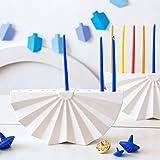 Handmade Hanukkah Menorah. Origami Inspired Modern White Ceramic Chanukiah. Contemporary Judaica Made in Israel. Bar or Bat Mitzva Gift, Judaica art for Wedding