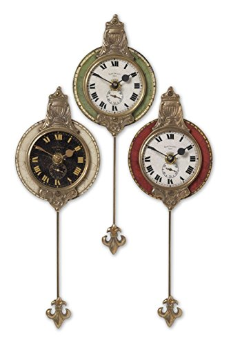 Set of Three Ornate Miniature Wall Clocks Grouping | Cast Brass Pendulum