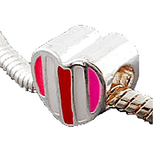 Charm Buddy Striped Heart Charms Bead Fits Silver Pandora Style Bracelets