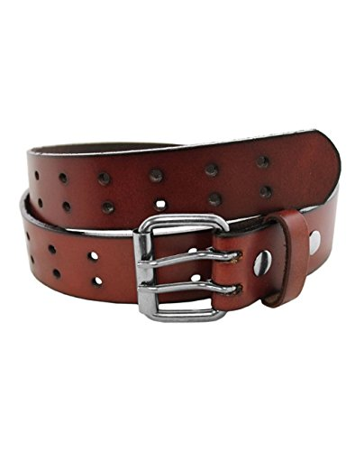 Eurosport Solid Rich Fashion Full Grain Leather Double Grommet Belt - GL083 - Brown Medium