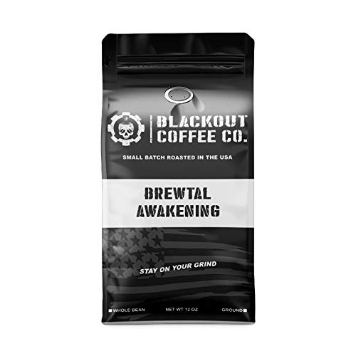 Blackout Coffee, Brewtal Awakening Dark Roast Coffee, High Caffeine, Strong & Flavored Coffee Beans, Fresh Roasted In…