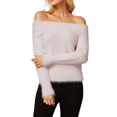Rambling Women Winter Long Sleeve Off Shoulder Solid Sweater Pullover Tops Blouse Shirt
