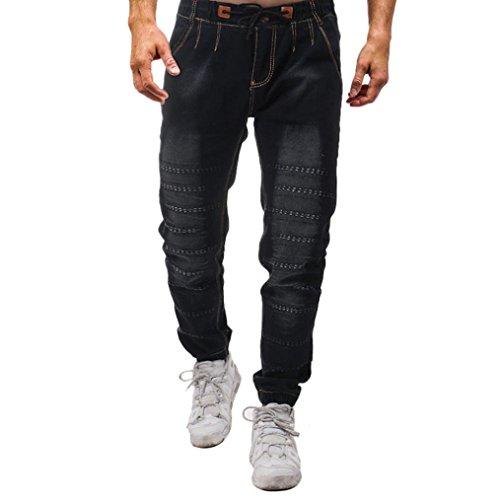 Negro Personalidad Originales Hombre Pantalones Slim Vaqueros STRIR Denim Pantalones Elasticos Pitillo Pantalón Fit Deportivos UOx64q6