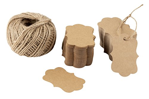 (Gift Tags - 200-Pack Kraft Paper Tags with 200-Feet Jute Rope, Vintage Craft Hang Labels for Wedding, Birthday, Holiday, Party Favor, Brown, 2.75 x 1.97 Inches)
