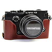 BolinUS Handmade Genuine Real Leather Half Camera Case Bag Cover for Olympus PEN-F Bottom Opening Version + Hand Strap - Coffee