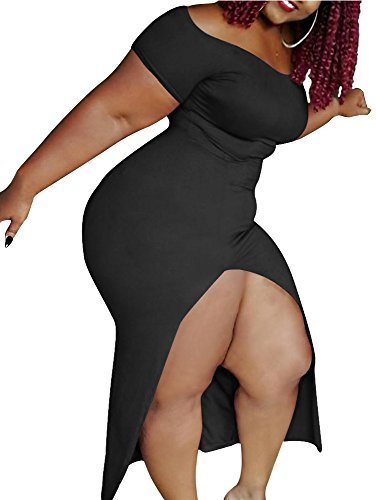 TOB Womens Sexy Plus Size Off Shoulder Side Slit Bodycon Party Maxi Dress