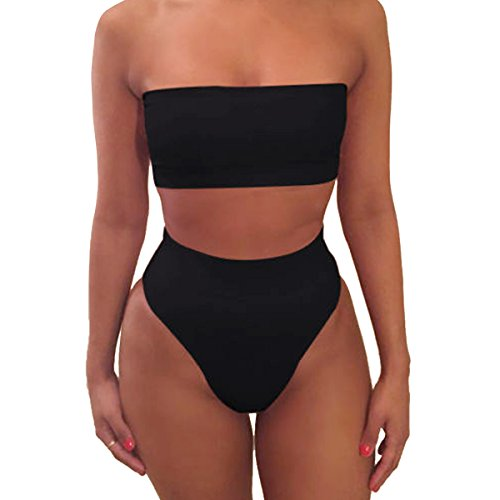 NE Norboe Strapless Two Piece Bathing Suit Sexy Cute High Waisted Bikini Top Swimsuits for Women