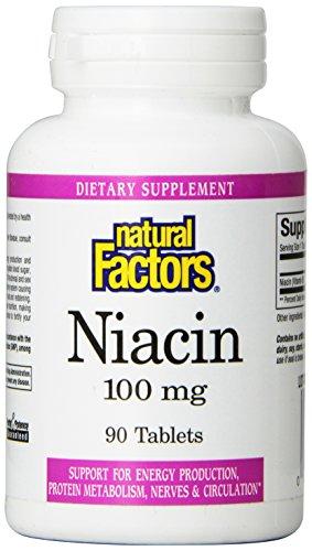 Natural Factors vitamine B3 niacine 100mg comprimés, 90 comte