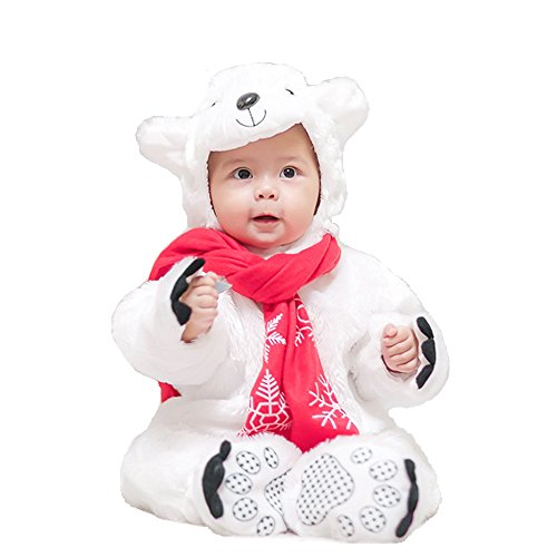 MagicQK Infant Costume, Christmas Animal Toddler Costumes Baby from 3-Month to 3 Years Old (6-12 Months/XS/26 Length, Polar Bear) ()