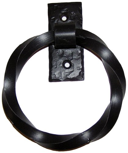 Agave Ironworks Twisted Ring Knocker/Pull, Flat Black Finish by Agave Ironworks