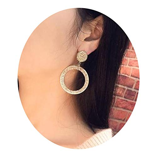 Rhinestone Double Round Hoop Earrings Shining Crystal Geometric Circle Disc Link Loop Earrings for Women Bridesmaid Jewelry Gifts(Gold)