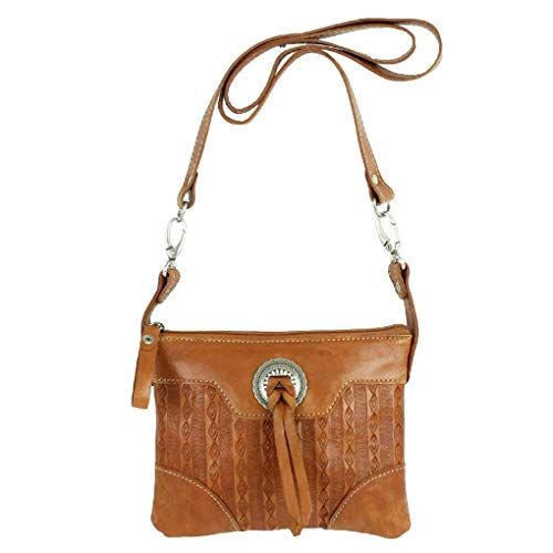American West Leather - Small Cross Body Handbag - Purse Holder Bundle - (Golden Tan- Bolo Concho)