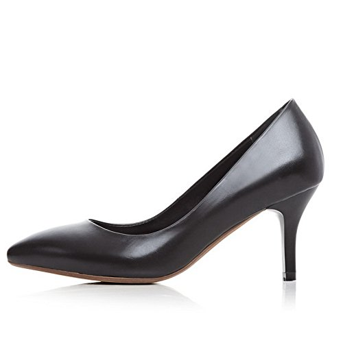 Solid Pointed On Pull Toe Women's Closed Black Stilettos Spikes Pumps VogueZone009 Shoes EBxq8aw0x