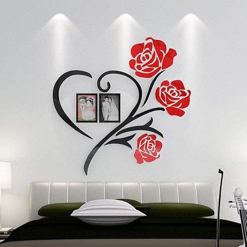 Wall Sticker SoungNerly Art Sticker 3D Drawing Marriage Room Decoration Wallpaper Bedroom Bed Room Wall Decoration Decals Posters,100100cm -
