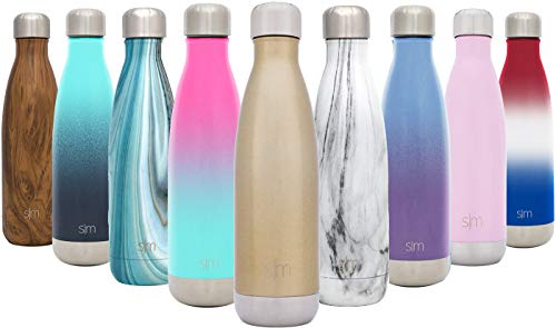 Simple Modern Stainless Steel Vacuum Insulated Double-Walled Wave Bottle, 25oz - Glimmering Gold - Shimmering Collection ()