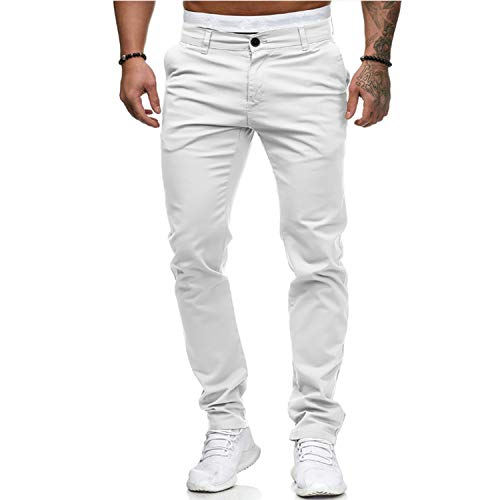 xiaoxiaoland Mens Smart Casual Cotton Trousers Pants Elasticated Waist Drawstrings Drawcord Loose Fit White