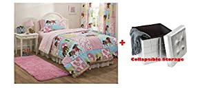 MS 5pc Bed in a Bag Comforter Set, (Twin, Country Meadows + Collapsible Storage)