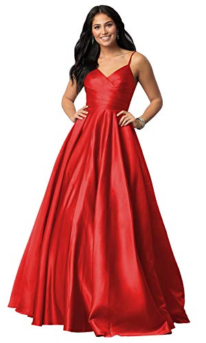 Women's Sleeveless A Line V Neck Prom Dress Long Spaghetti Strap Satin Evening Party Dress Ruched Bodice Red Size 4