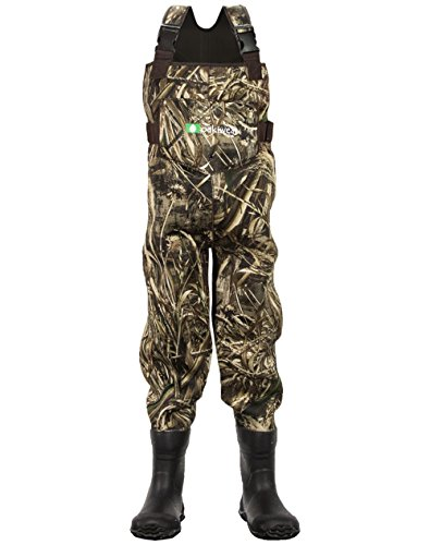 OAKI Children's Neoprene Waterproof Fishing Waders Max-5 Camo, 8/9 Little Kid ()