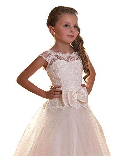 Yuanlu Lace Flower Girl Dress for Weddings First Communion Dresses (14, Ivory) (Ivory First Communion Dress)