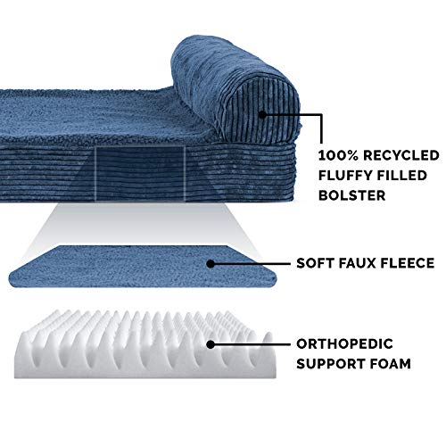 Furhaven Pet Dog Bed - Deluxe Orthopedic Faux Fleece and Corduroy Chaise Lounge Living Room Couch Pet Bed with Removable Cover for Dogs and Cats, Navy, Large