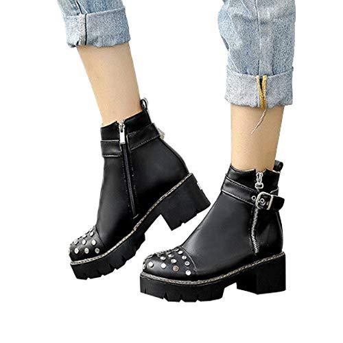 Noir Modles Mode Large Agrafe Chaussures Punk Beau Alikeey Sexy Tte Coins Costume Ct Ronde Bas Jouet Top Taille Talon Biker Graisse qUWnnRg