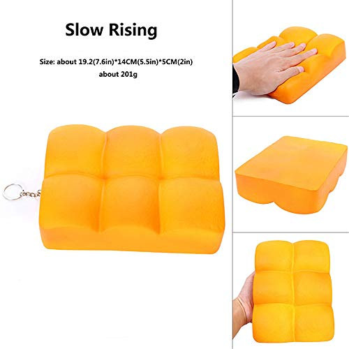 DEESEE(TM)) Simulation Toast Bread Slow Rising Squeeze Relieve Stress Toy Key Pendant