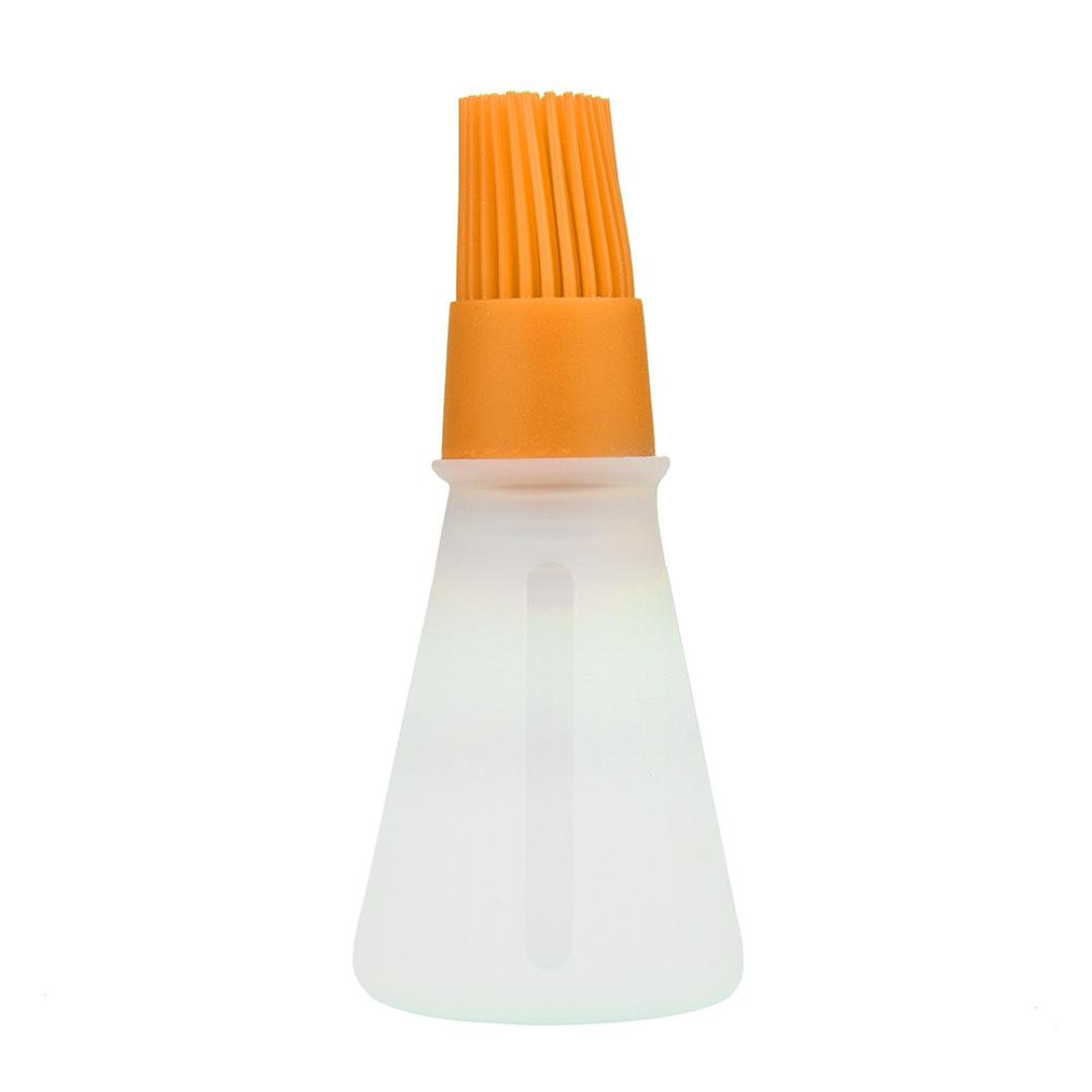 Weite BBQ Basting Brush, Silicone Grill Barbecue Baking Pastry Oil Honey Wine Sauce Bottle Brush with Dispenser (Orange)