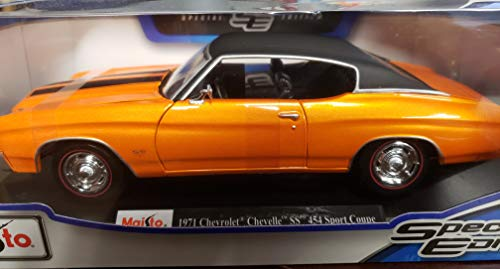 (Maisto Special Edition Series 1:18 Scale Die Cast Car Set - Blue Color Classic Hardtop Sports Coupe 1971 Chevrolet Chevelle SS 454 with Display Base (Car Dimension: 10