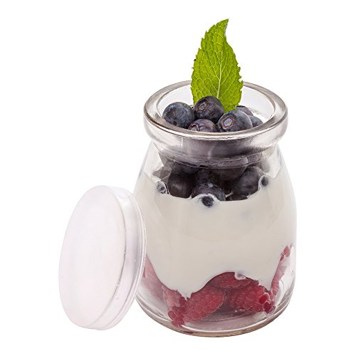 Plastic Bar Glasses Wholesale (5-OZ Glass Jars for Yogurt, Milk, Parfait, and Pudding: Perfect for Bakeries, Buffets, Breakfast Bars, and Restaurants - Yogurt Maker Glass Replacement Jars with Plastic Cap - 100-CT -)