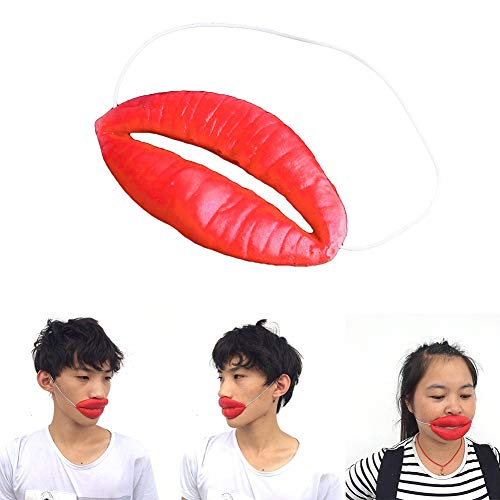 (NarutoSak Funny Elastic Strap Latex Thick Big Mouth Lips Mask April Fools Day Decor Prop, for Kids School April fool's Day Halloween Party)