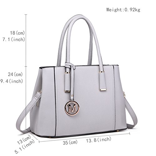 Miss Litchi Lulu Quality Pu for Leather Tote Ladies Light Grey 1748 Stylish Skin Design Shoulder Top Handbag Women prYUpgH