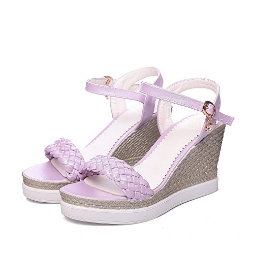 Allhqfashion Womens Pu Tacchi Alti Open Toe In Zeppe Con Zeppe E Zeppe
