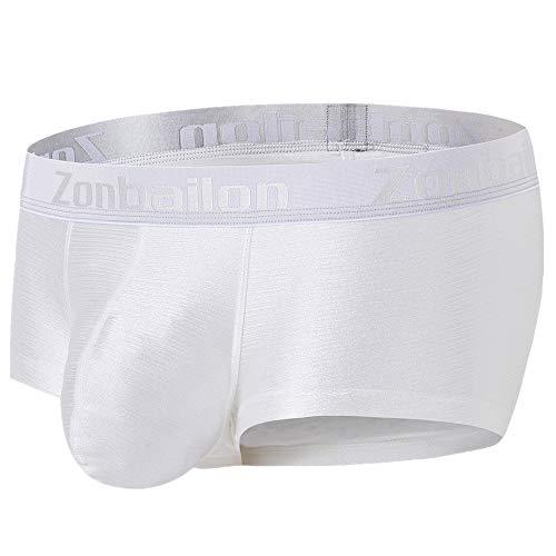 ZONBAILON Men Sexy Boxer Briefs Plus Size Short Athletic Sports Underpants with Bulge Pouch Underwear M White