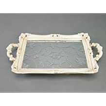 Silver Tree Mirrored Bone White Vanity Tray with handles