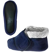 Womens/Mens Slip Resistant Bootie Slipper With Adjustable Closures