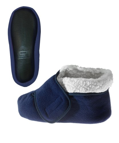 Silvert's Adaptive Clothing & Footwear Womens/Mens Slip Resistant Bootie Slipper with Adjustable - Navy 2XL