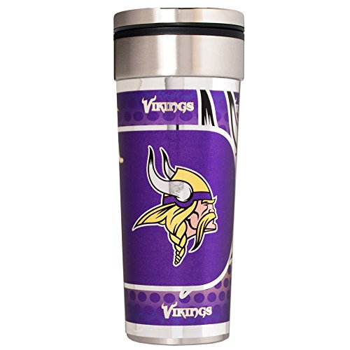 Great American Products NFL Minnesota Vikings Travel Tumbler with Metallic Graphics, 22-Ounce, Silver