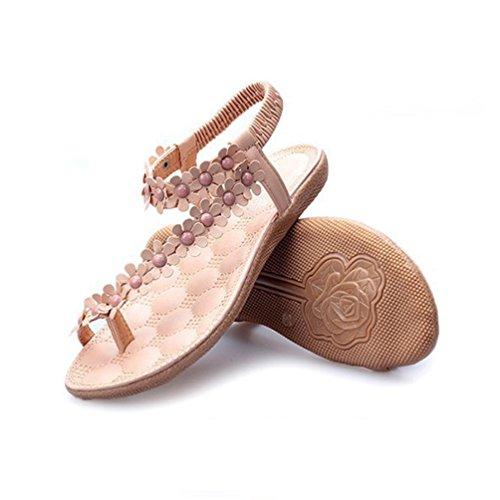 JITIAN Chaussures Plates Ouvert Mode Sandales de Plage Fleur Bride Cheville Clip Toe Sandale pour Femme Rose AsKiCTLvj2