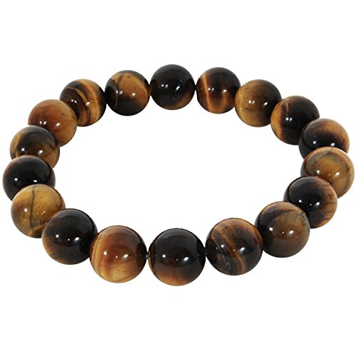 - Tribal Hollywood Tigris Men's Beaded Bracelet Genuine Tiger's Eye Stones | Flexible, Comfortable Fit | Elastic Stretches from 7