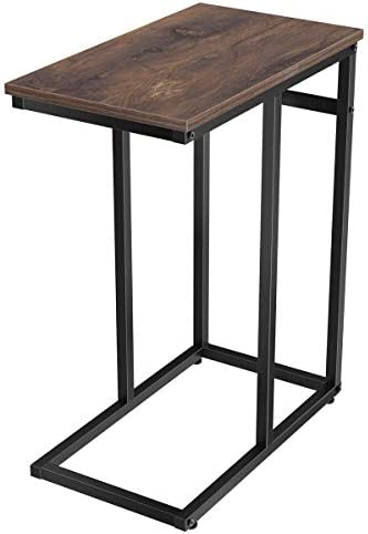 Homemaxs Sofa Side End Table C Table Small Snack Table Wood Finish Steel Construction Coffee Snack Tablet Amazon Co Uk Kitchen Home