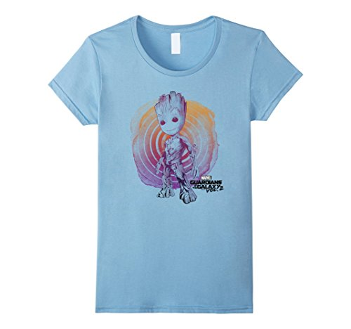 Women's Marvel Groot Guardians of the Galaxy 2 Swirl Graphic T-Shirt XL Baby Blue