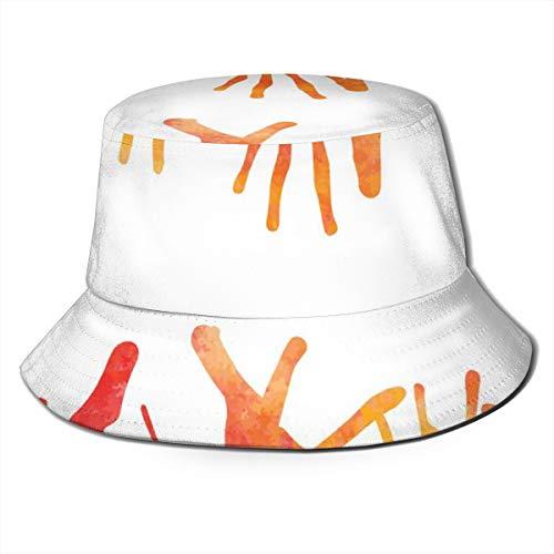 Orange with Blots Unisex Outdoor Sun Fisherman Bucket Caps Beach ()