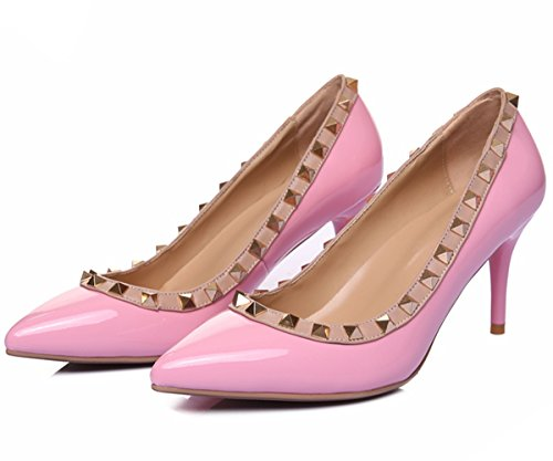 HooH Damen Pumps Lackleder 8 CM Spitze Studded Klassisch High Heel Hochzeit Kleid Pumps Slip On Pink