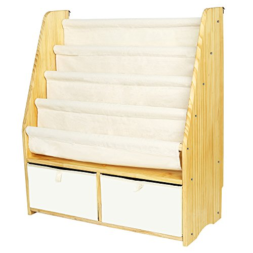 ookshelf Kids Sling Book Rack with Two Storage Boxes and Toys Organizer Shelves Natural Solid Wood Baby Bookcase ()