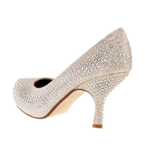 Ladies TRUFFLE Silver Diamante Sparkle Kitten Heel Evening Bridal ...