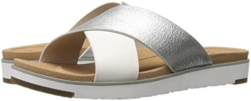 8ceee3db52d UGG Women's Kari Metallic Metallic Flat Sandal, Silver, 6 B (M) US ...