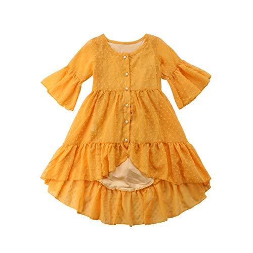 Price comparison product image VISGOGO Toddler Baby Girl Boho Ruffle Half Sleeve Princess Dress Party Sundress 1-5T (18 Months)